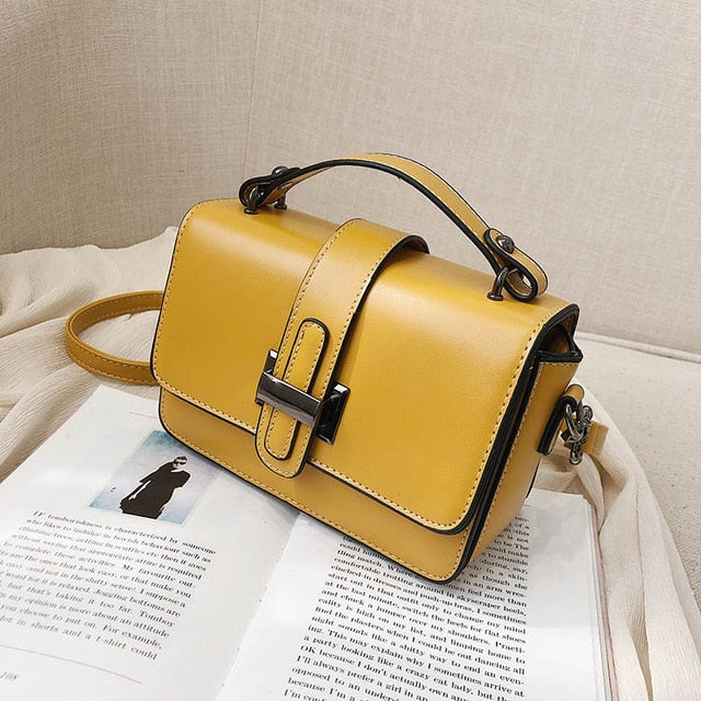 Bag for Women 2019 Luxury Handbag Women Bags Designer Solid Leather Yellow White Pink Shoulder Bag Purse Sac A Main High Quality