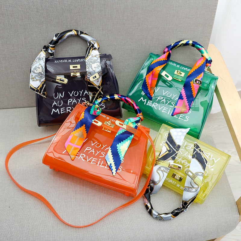 PVC Shoulder Bags Women Candy Color Women Clear Transparent Jelly Bags Purse Solid Color Handbags Sac A Main Femme Crossbody Bag
