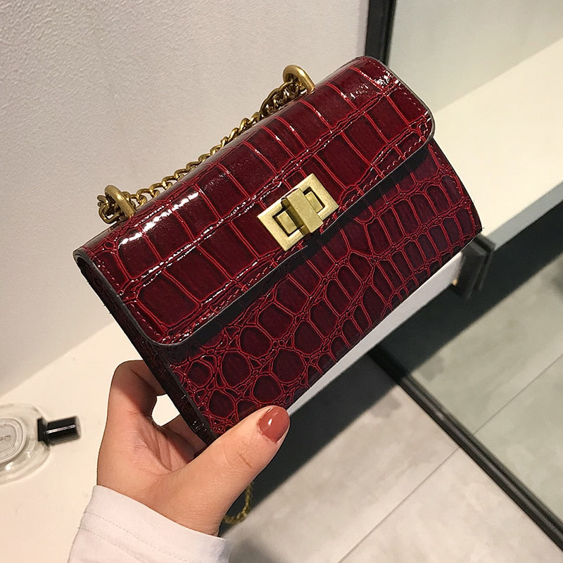 Stone pattern Mini Crossbody bags For Women 2019 Quality PU Leather Ladies Chain Designer Handbags Lock Shoulder Messenger Bag