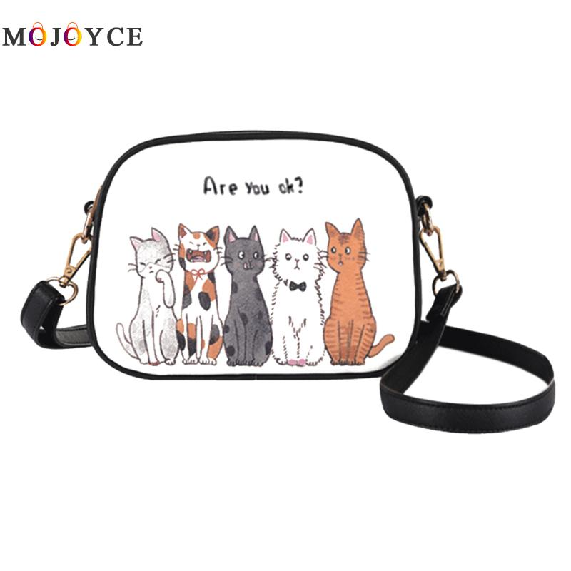 Women Shoulder Bag Handbag PU Leather Full Moon Candy Color Cute Cat Rabbit Zebra Crossbody Bag For Women
