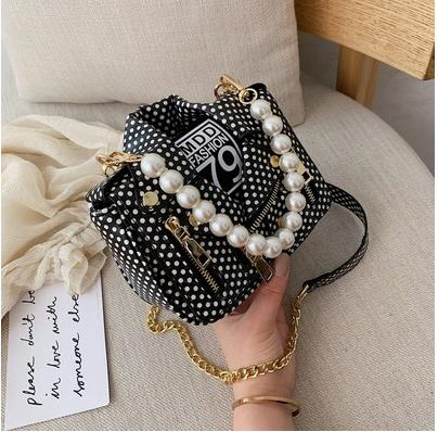 Trend Black and White Polka Dot Jacket Design Pearl Handle Women Casual Handbag Shoulder Bag Crossbody Bag Female Bolsa Totes