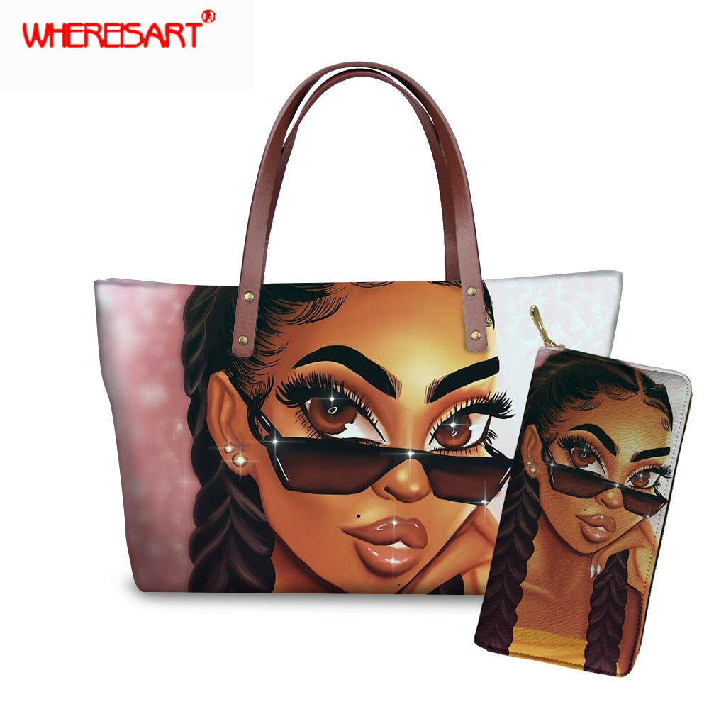 WHEREISART Women Bags Handbags 2019 Famous Brands African Beach Bag Bolsa Feminina Afro Black Girls Tote Bags PU leather Purse