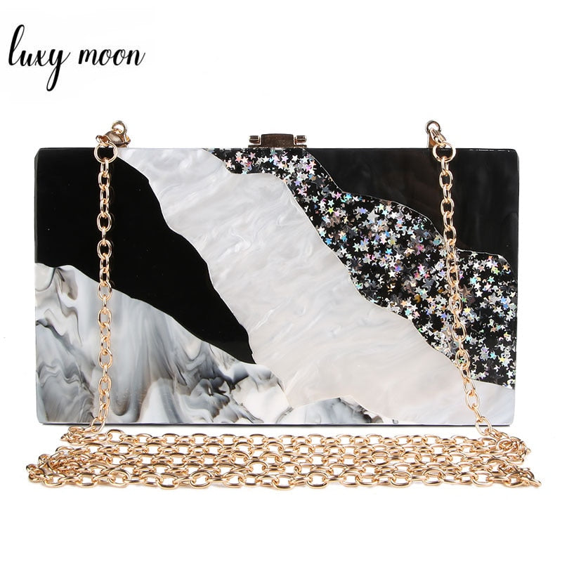 Acrylic Clutch Marble pattern evening bags luxury women clutch bag black white flap bag chains shoulder bag party purse zd932