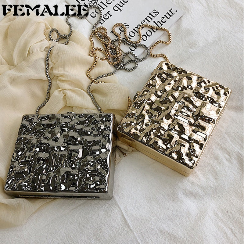 Luxury Brand Design Metal Clutches Women Evening Bags Party Punk Style Silver Hand Bag Chain Crossbody Purses Gold Box Clutch