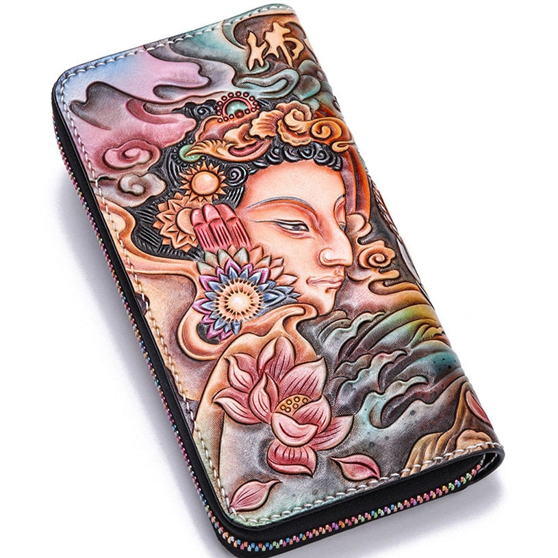 Handmade Genuine Leather Wallets Carving Red-crowned Crane Bag Purses Women Men Long Clutch Vegetable Tanned Leather Wallet