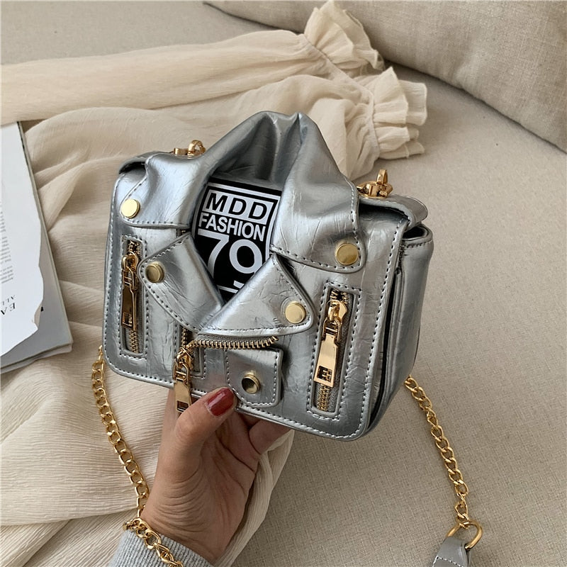 Famous Brand Designer Bag for Women 2019 Cool Jacket Shape Punk Motobike Style Women's Handbag Purse Crossbody Bag Silver Yellow
