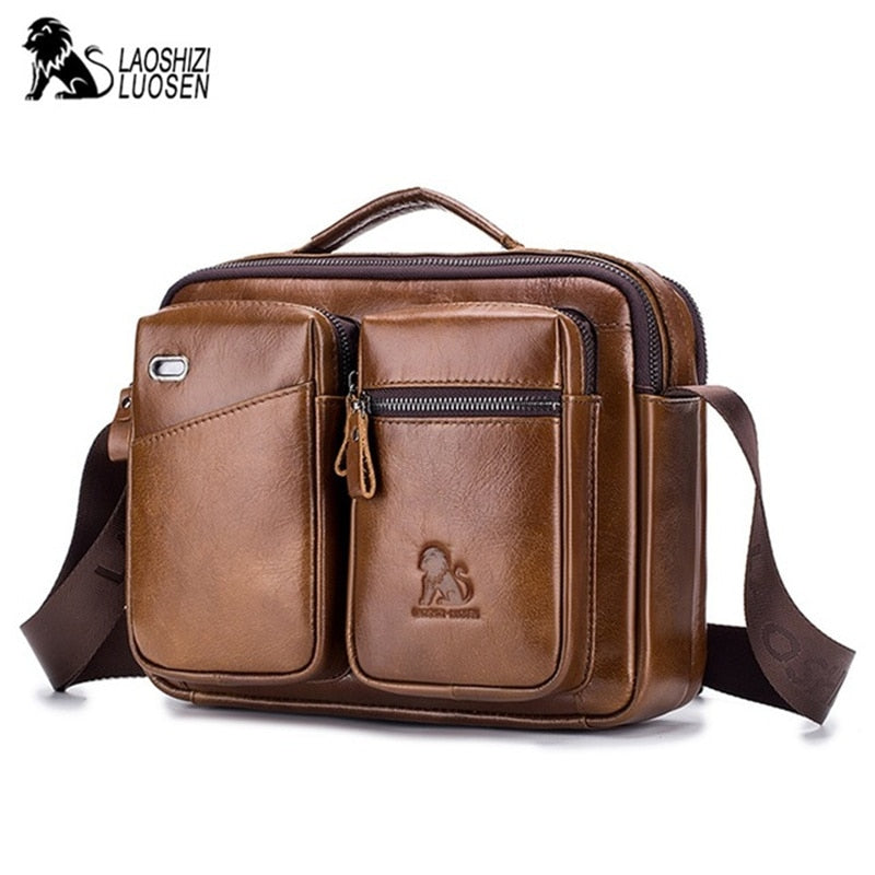 Handbags Man Messenger Bag Cow Leather Large Crossbody Shoulder Mochila Fashion Male Men Tote Flap Business Satchel Gift Travel