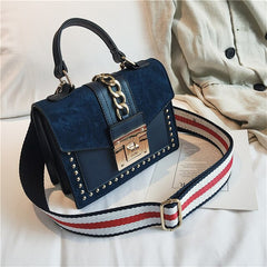 High Quality Women Bags Leather Handbag Small Crossbody Bag Vintage Ladies Shoulder Bags Flap Tote Rivet Chain Messenger Bag Red