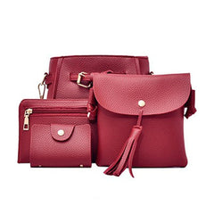1Set Fashion Four Set Tassel Womens Bag Solid Credit Card Handbag New Pu Leather Shoulder Crossbody Versatile Red Bag Hot Sale