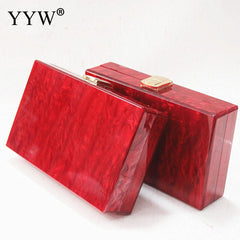 Red Square Box Clutches New Fashion Purse Women Clutch Evening Bags Party Prom Clutch Casual Handbags Chain Shoulder Bag Woman