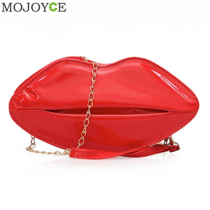 Women Red Lips Clutch Bag High Quality Ladies Pu Leather Chain Shoulder Bag Bolsa Evening Bag Lips Shape Purse