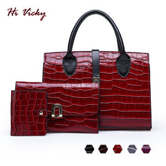 2019 Women Bag 3 Sets Top-Handle Big Capacity Female Handbag Fashion Shoulder Bag Purse Ladies Patent Leather Red Crossbody Bag