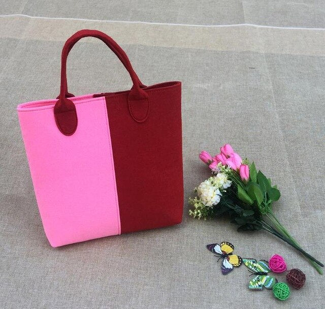 Little pink red bag for girl contrast color handbag shopping bag cute bag Child girl bag