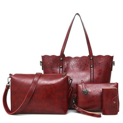 LJL Composite Bag set hollow out totes women handbags high quality women's messenger bags(Red wine)