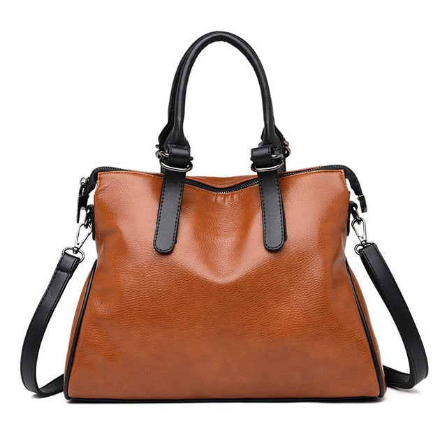 Yonder Women genuine leather handbag vintage shoulder bag female designer top-handle hand bags ladies messenger bags Black/Red