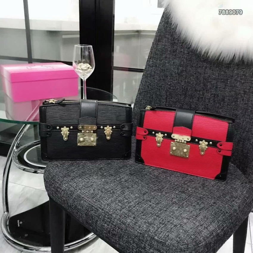 2019 new brand fashion high version designer custom box bag black and red sheepskin pleated single shoulder diagonal handbags