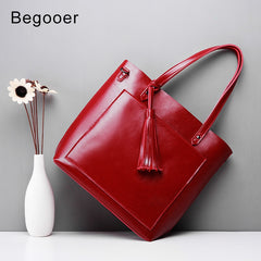 2018 New Women Handbag Red Tassel Genuine Leather Female Handbag Luxury Designer Totes Bucket Fashion Large Capacity Shouder Bag