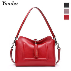 Yonder genuine leather shoulder bag tassel handbags women bags designer flap bag tote fashion ladies bags female Red Wine/Black