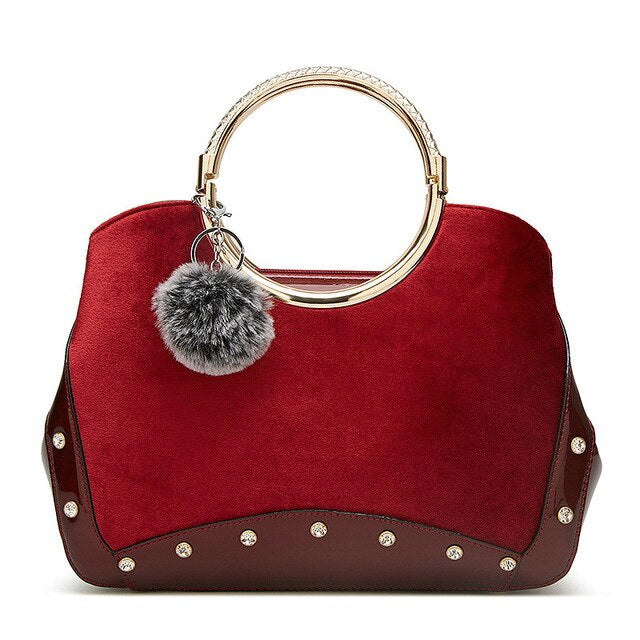 Gykaeo Luxury Handbags Women Bags Designer Fashion Shoulder Bag Europe and America Style Bridal Red Velvet Tote Bag Lady Handbag