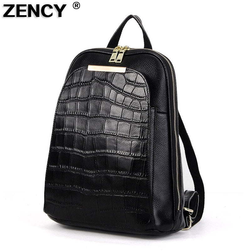 ZENCY Hot 100% Real Genuine Cow Leather White Silver Gray Everyday Women Backpack Lady Girls Top Layer Cowhide Book Bag Mochila