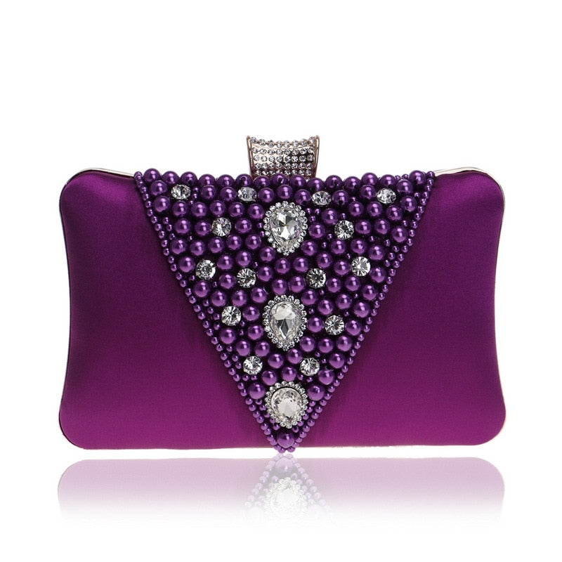 Pearl Evening Bag Clutch Bags Luxury Women Hands Bags Ladies Chain Clutches Party Wedding Handbags Red Purple Purse Bolsos Mujer