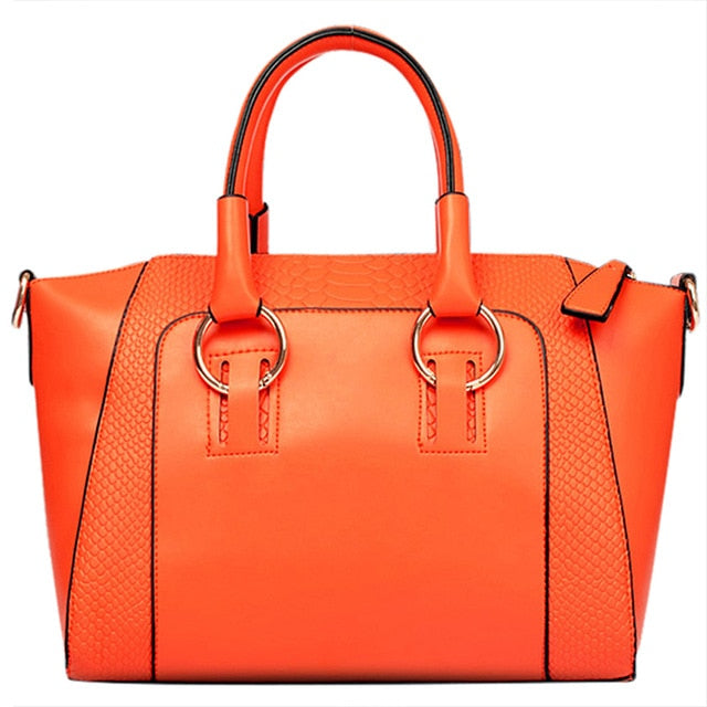 Women's Shoulder Bag in imitation leather Satchel Cross Body Tote Bag (Orange)