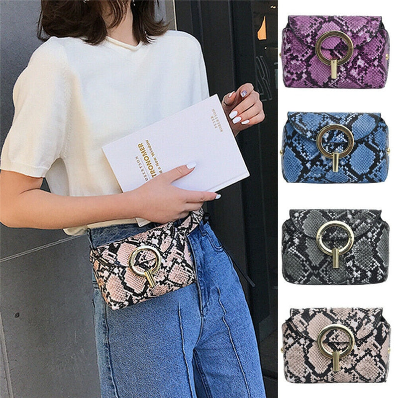 2019 Ladies Leather Snake Cross Body Messenger Bag Women Shoulder Waist Over Bags