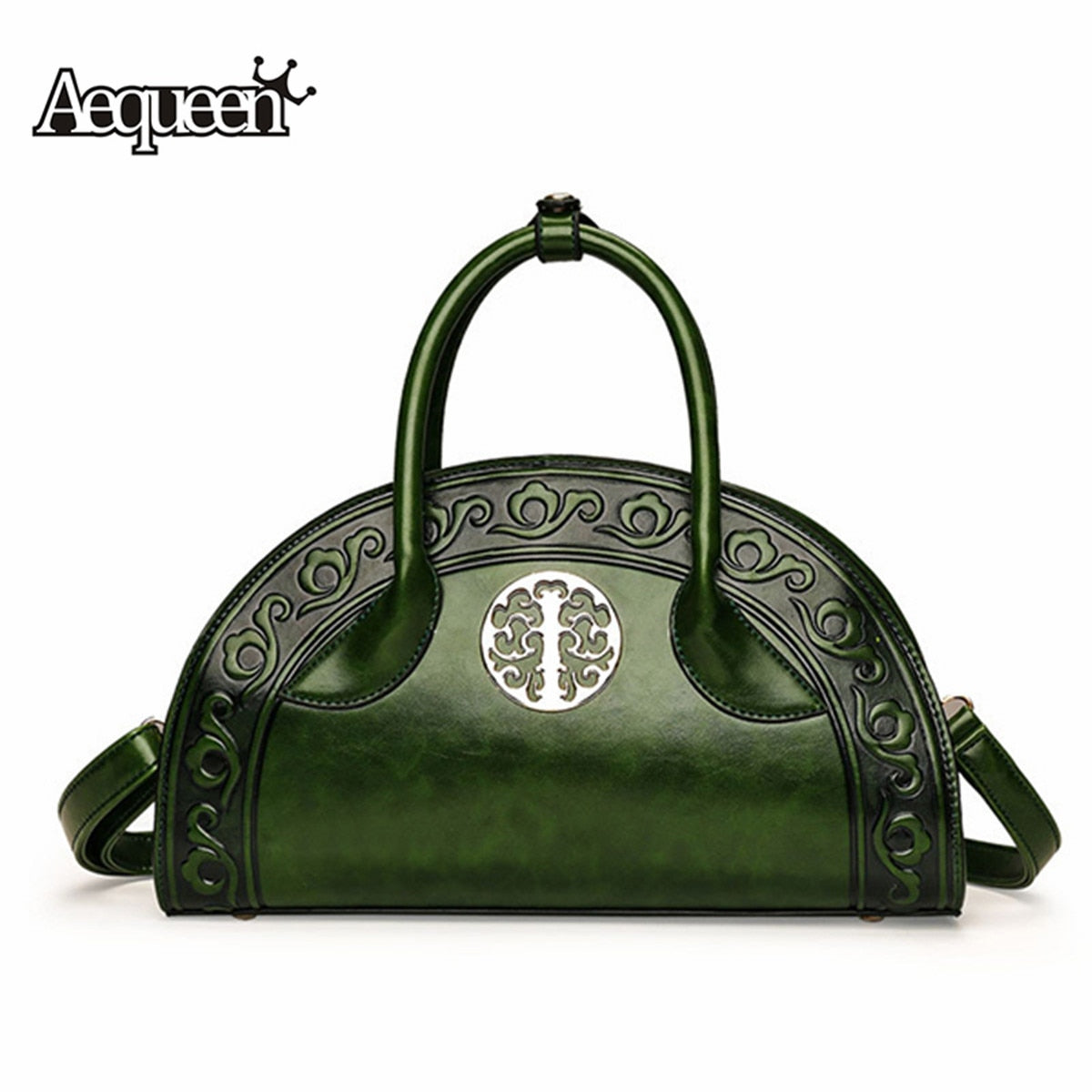 2019 Chinese Style Red Green Women Luxury Handbag Designer PU Leather Embossed Crossbody Tote Vintage Messenger Bag sac a main