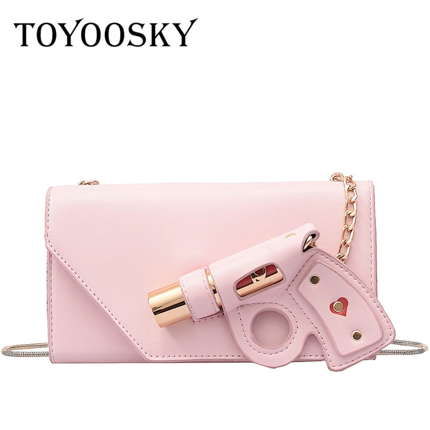 TOYOOSKY 2019 Fashion 3D Gun Design Shaped Messenger Bags Women Personality Chains Pu Leather Shoulder Crossbody Bags Party Bag
