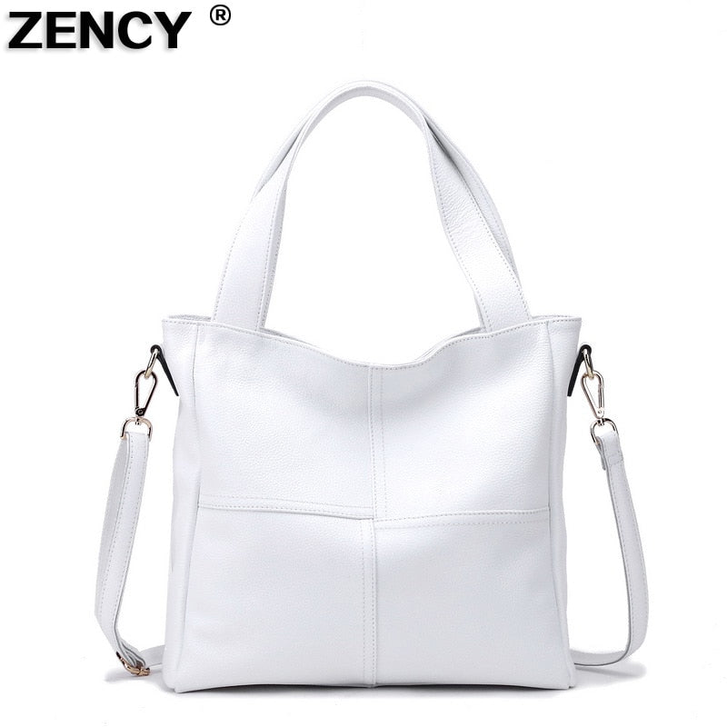 ZENCY 100% Genuine Cow Leather Women Shoulder Bags Ladies Handbag Female Top Handle Strip Messenger Black White Cowhide Satchel