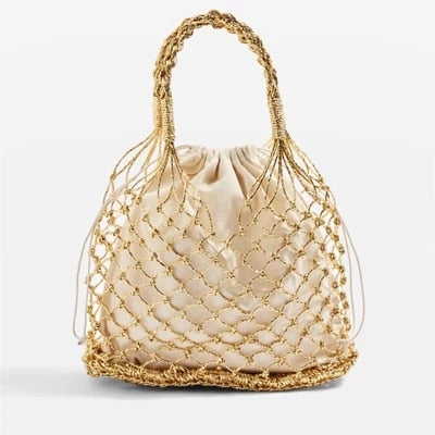 Gold, silver 2 color bright paper ropes hollow woven bag cotton lining straw bag female Reticulate handbag netted beach bag