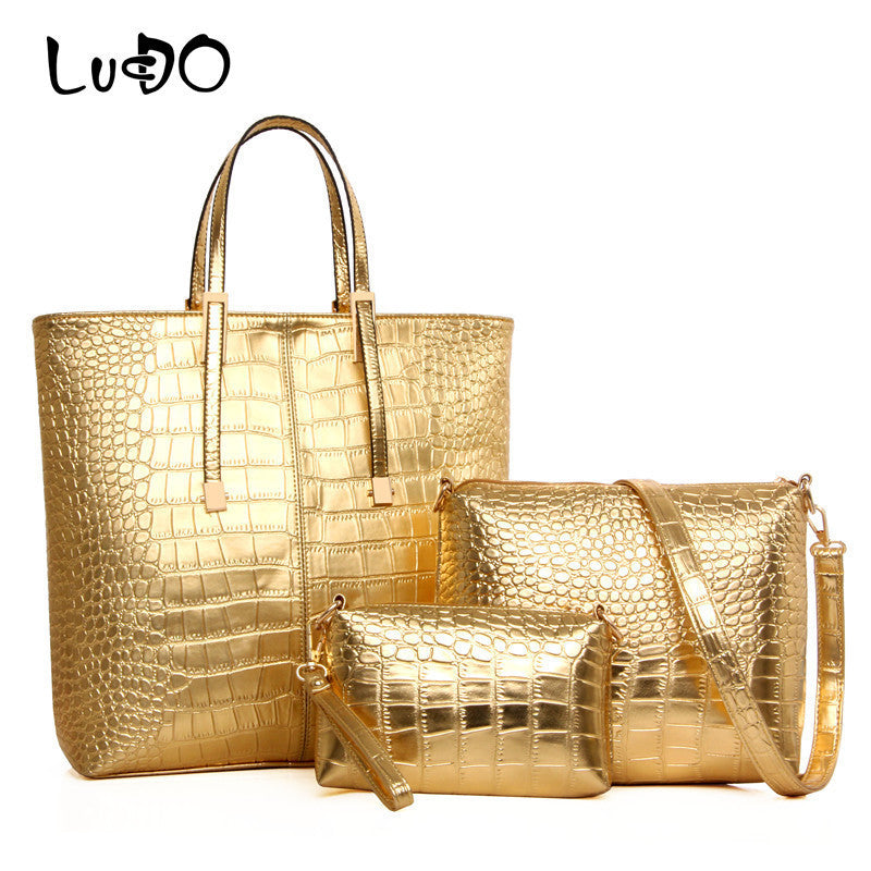 LUCDO 3Pcs/Set Large Capacity Shoulder Bag For Women Fashion Luxury Gold Crocodile Leather Handbag Lady Gold Silver Big Tote Bag
