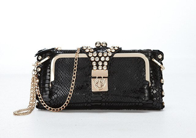 Women Purses Female Handbags PU Leather Shoulder Bag Diamonds Chains Gold black Design Serpentine Clutch Wallets Evening Bag 490
