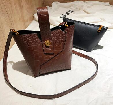 New Bags for Women 2019 Women Bag Leather Handbags PU Shoulder black brown Composite Bag Crossbody Messenger bucket with wallet