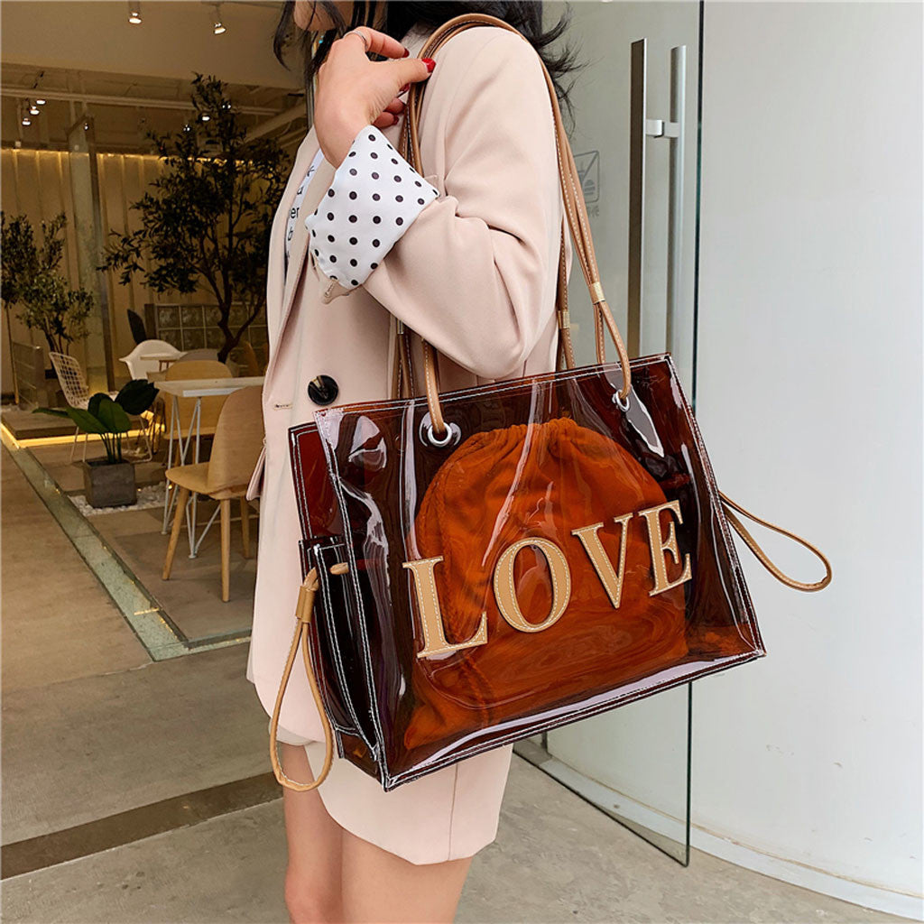 Women's Fashion Large-Capacity Handbag Work Bag Red Brown Shoulder Bag Wild Animal Prints Clear bag for 2019
