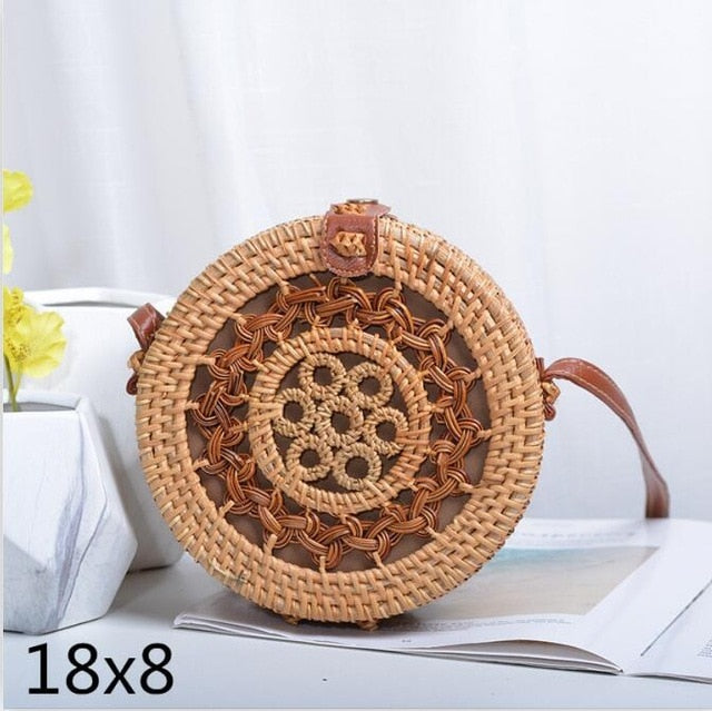 18x8cm New Women Straw Bag Handmade Rattan Women Round Bohemia Style Beach Circle Bag Hollow Retro Kintted Bow Shoulder Bags
