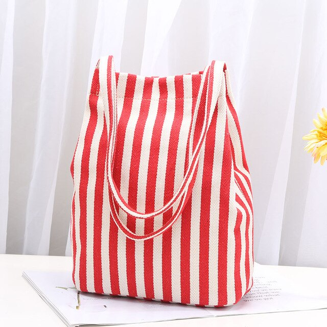 Zebra Stripe Canvas Lady Shopping bags Tote Shoulder Carrying Bag Eco Reusable Bag Hasp Cute Gril Big Shopping Bag