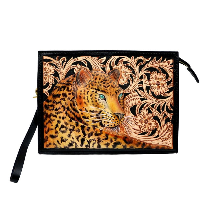 Handmade Women Men Vegetable Tanned Leather Bag Wild Style Leopard Money Holder Clutch Purse Clutches Cow Lerther Envelope