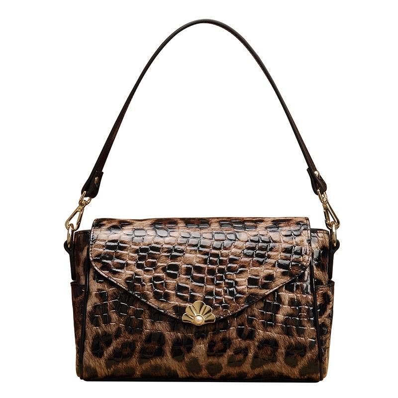 2019 New Pure Leather Shoulder Leather Female Bag Leopard Print Practical Large Capacity Women Purses and Handbags