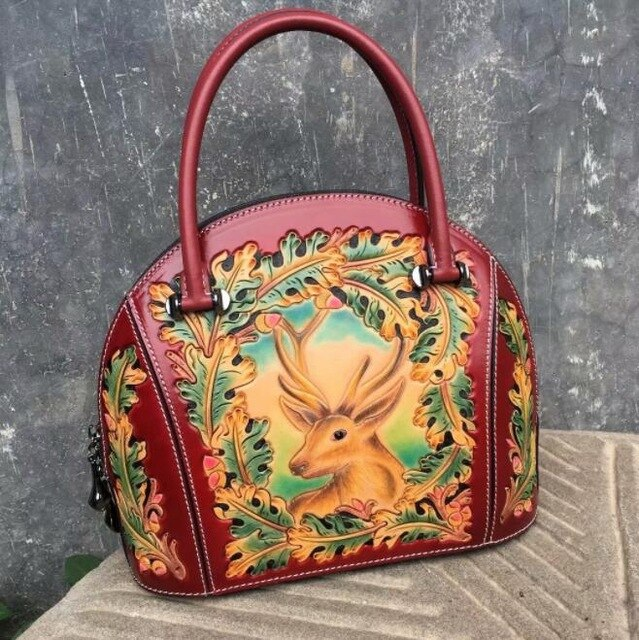 LUOFEIHUA  2019 new high-end leather carving embossed handbag Leather handbag banquet handbag designer bag  Shell bag
