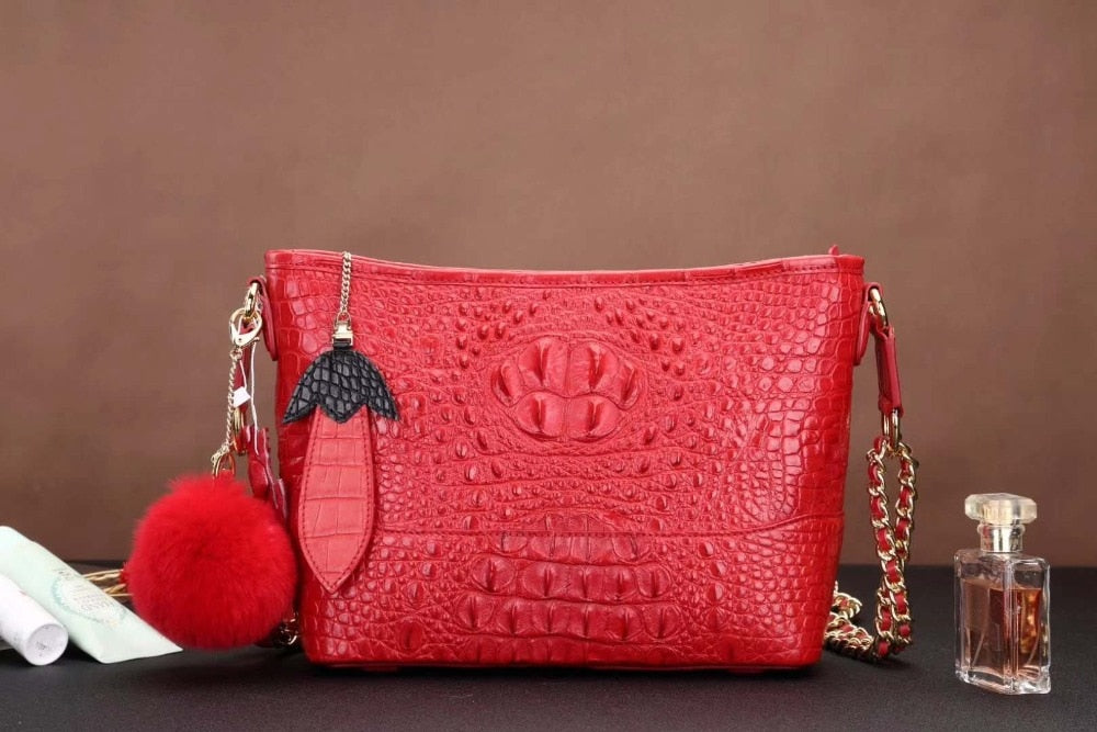Latest Design production 100% crocodile skin lady shoulder cross body small size bag in color of red black and pink free ship