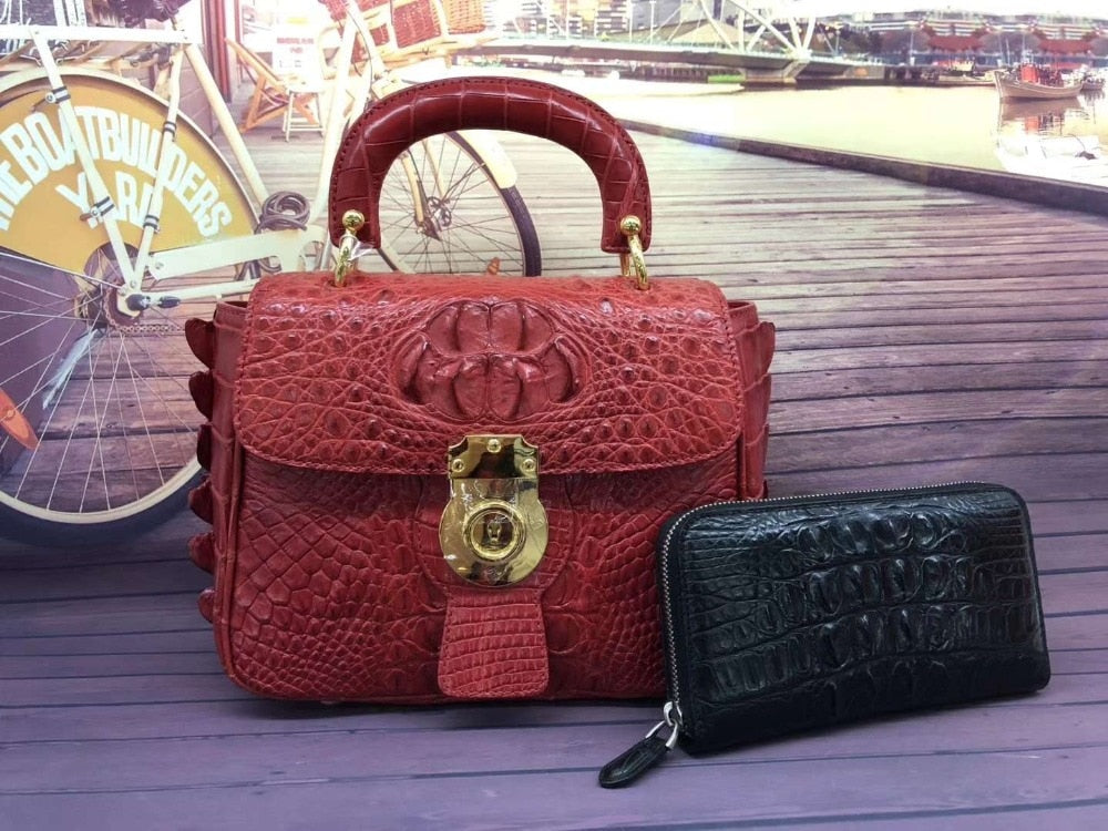 Small size genuine crocodile skin leather women shoulder bag black green color alligator head skin women tote cross body bag red