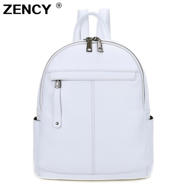 ZENCY 100% Genuine Real Cow Leather Women Backpack First Layer Cow Leather Snow White Silver Pink Gray Backpacks Travel Book Bag