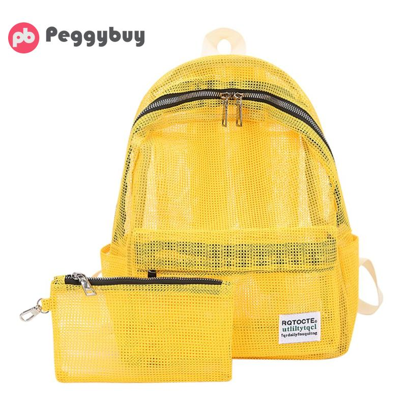 Backpack Summer Women Transparent Mesh Backpacks  Student Travel Backbag Teenager Girls Backpack Female Mochila Bookbag