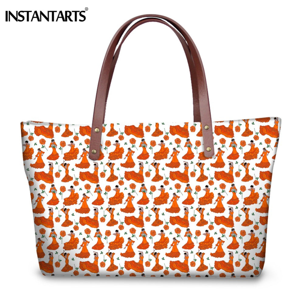 INSTANTARTS Flamenco Dancers Orange on White Large Handbag Women Stylish Shopping Bag Big Capacity Tote Shoulder Bags for Girls