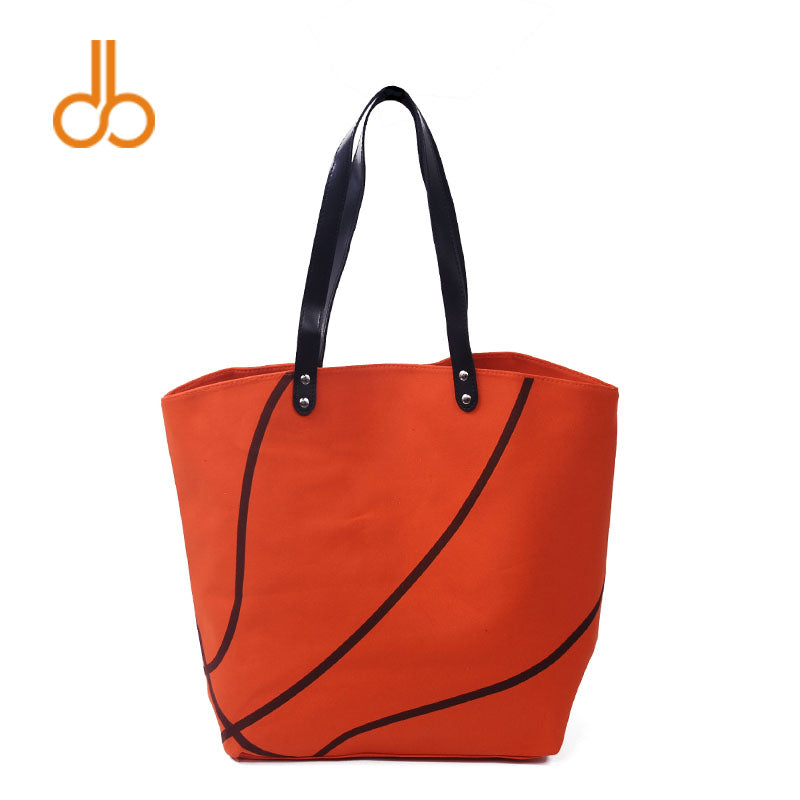 Whooray Orange Ball Tote Blanks Canvas Tote Orange Color Pattern, Wholesale basket Tote With Inside Zipper pocket DOM1010295N