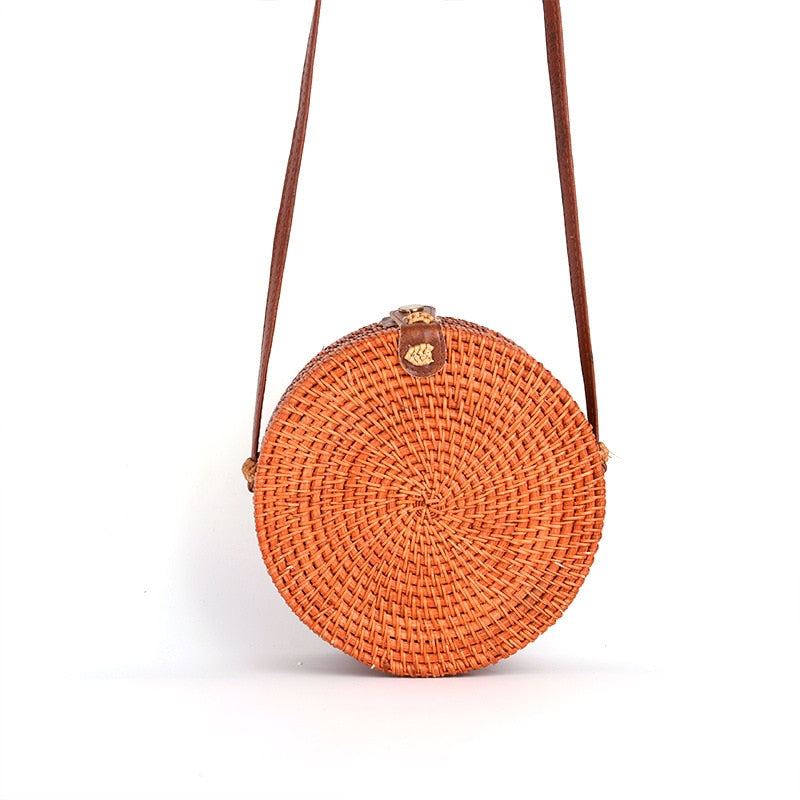 Orange leather buckle button rattan bag beach bag ladies summer seaside holiday single diagonal bag wholesale