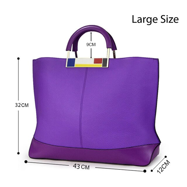 Qiwang Flag Bags Large Capacity Tote Purple European Brand Designer Real Leather Women Handbag Roomy Big Bag Laptop Purse Worthy