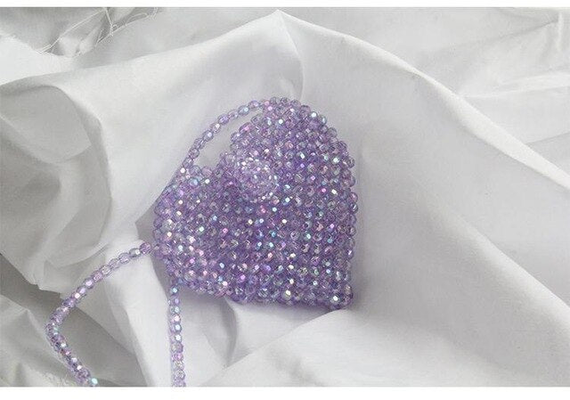 Vintage Beaded Bag Mini Size Women Crossbody Bag Handmade Small Purse Purple Pink Color Girls Cute Shoulder Bags Drop Shipping