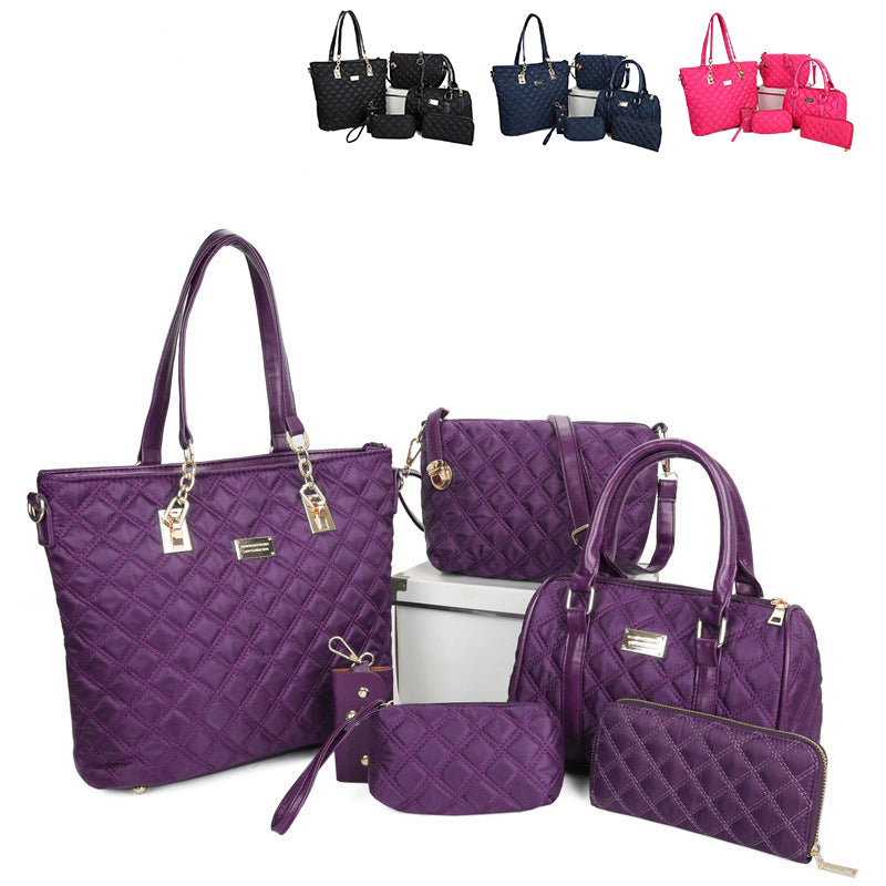 Women Bag Set 6pcs Handbag Brand Nylon Shoulder Bag Crossbody Bags Fashion Messenger Bag Blue Purple Female Totes Clutch Purse